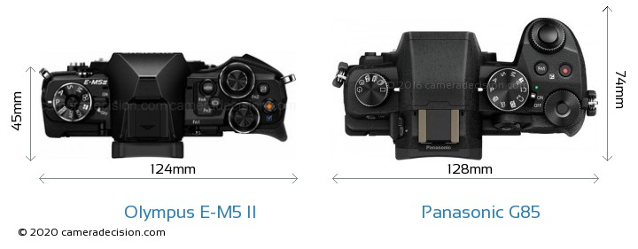 Olympus E-M5 II vs Panasonic G85 Camera Size Comparison - Top View