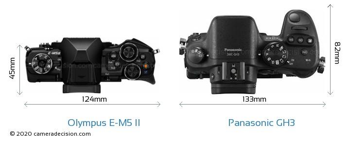 Olympus E-M5 II vs Panasonic GH3 Camera Size Comparison - Top View