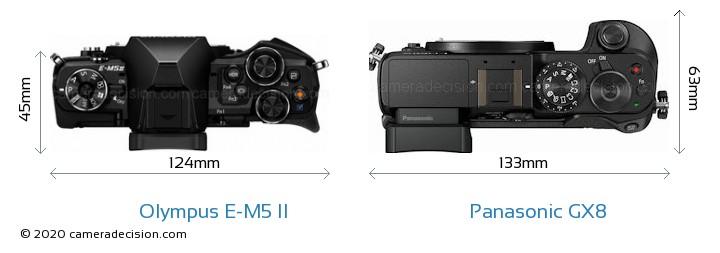 Olympus E-M5 II vs Panasonic GX8 Camera Size Comparison - Top View