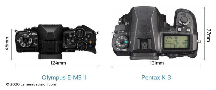 Olympus E-M5 II vs Pentax K-3 Camera Size Comparison - Top View