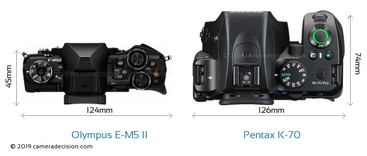 Olympus E-M5 II vs Pentax K-70 Camera Size Comparison - Top View