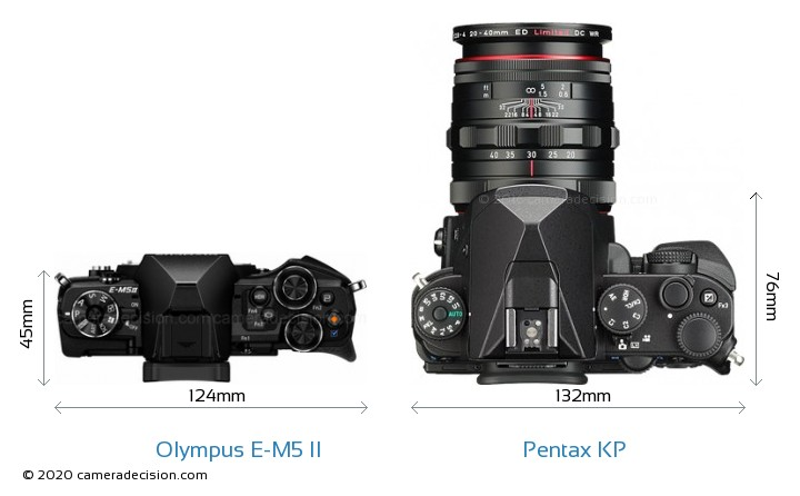 Olympus E-M5 II vs Pentax KP Camera Size Comparison - Top View