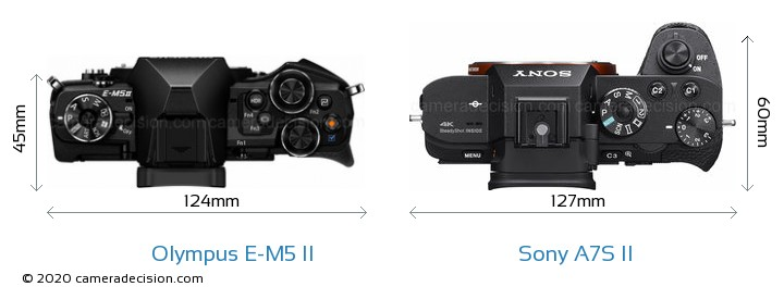 Olympus E-M5 II vs Sony A7S II Camera Size Comparison - Top View