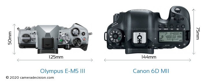 Olympus E-M5 III vs Canon 6D MII Camera Size Comparison - Top View