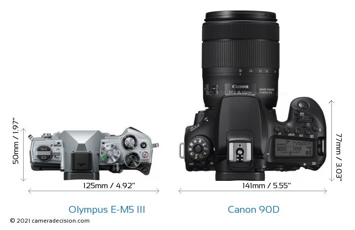 Olympus E-M5 III vs Canon 90D Camera Size Comparison - Top View