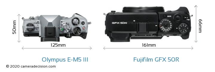 Olympus E-M5 III vs Fujifilm GFX 50R Camera Size Comparison - Top View