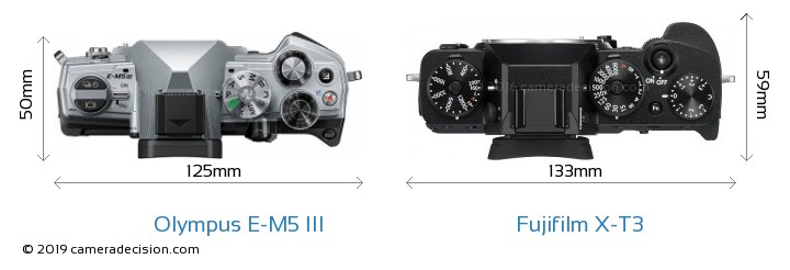 Olympus E-M5 III vs Fujifilm X-T3 Camera Size Comparison - Top View