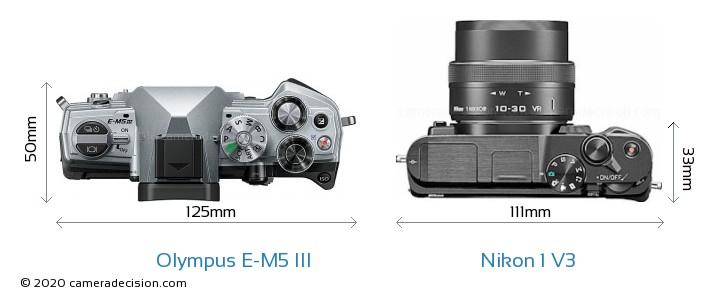 Olympus E-M5 III vs Nikon 1 V3 Camera Size Comparison - Top View