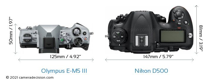 Olympus E-M5 III vs Nikon D500 Camera Size Comparison - Top View