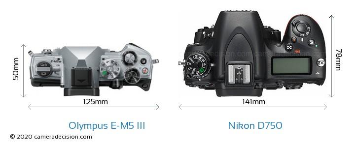 Olympus E-M5 III vs Nikon D750 Camera Size Comparison - Top View