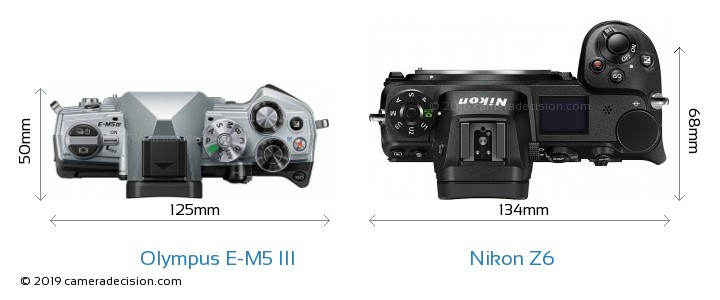 Olympus E-M5 III vs Nikon Z6 Camera Size Comparison - Top View