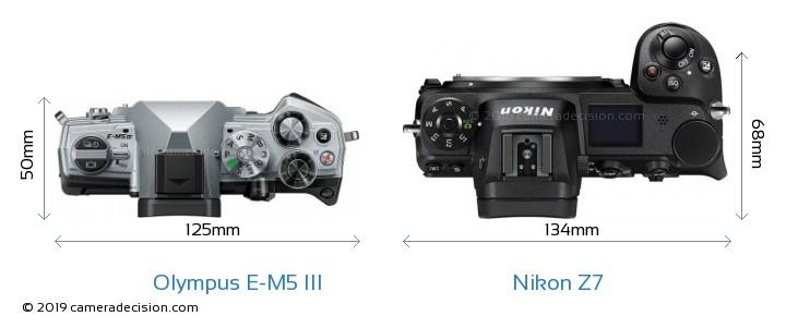 Olympus E-M5 III vs Nikon Z7 Camera Size Comparison - Top View