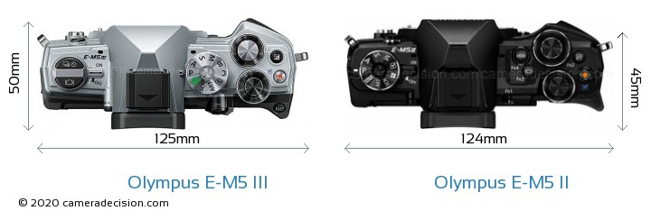Olympus E-M5 III vs Olympus E-M5 II Camera Size Comparison - Top View
