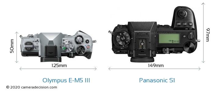 Olympus E-M5 III vs Panasonic S1 Camera Size Comparison - Top View