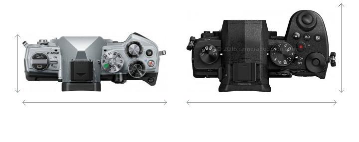 Olympus E-M5 III vs Panasonic G95 Camera Size Comparison - Top View