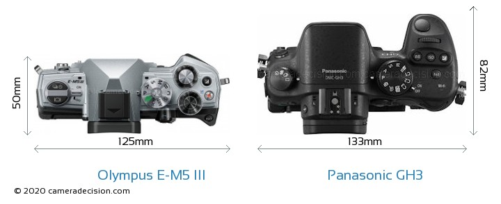 Olympus E-M5 III vs Panasonic GH3 Camera Size Comparison - Top View