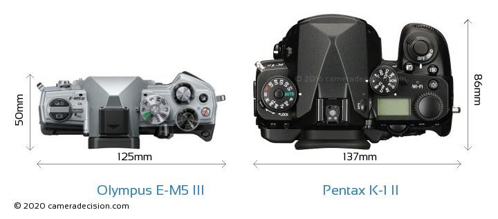 Olympus E-M5 III vs Pentax K-1 II Camera Size Comparison - Top View