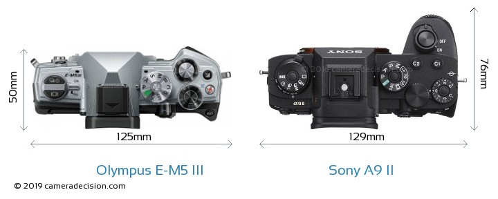 Olympus E-M5 III vs Sony A9 II Camera Size Comparison - Top View