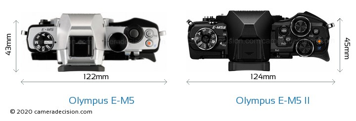 Olympus E-M5 vs Olympus E-M5 II Camera Size Comparison - Top View