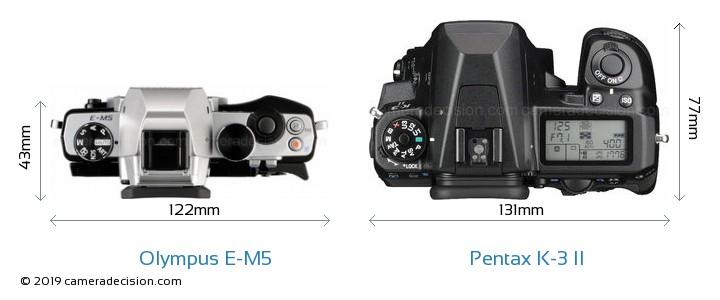 Olympus E-M5 vs Pentax K-3 II Camera Size Comparison - Top View