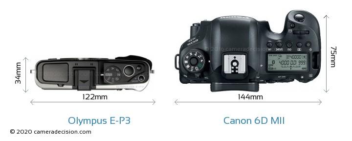 Olympus E-P3 vs Canon 6D MII Camera Size Comparison - Top View