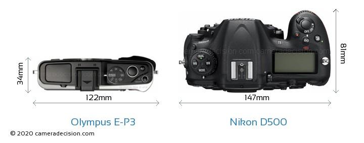Olympus E-P3 vs Nikon D500 Camera Size Comparison - Top View