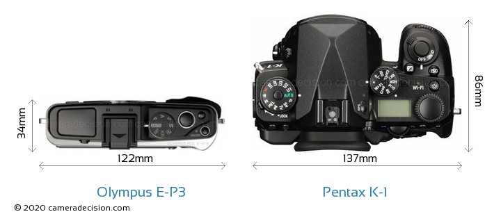 Olympus E-P3 vs Pentax K-1 Camera Size Comparison - Top View