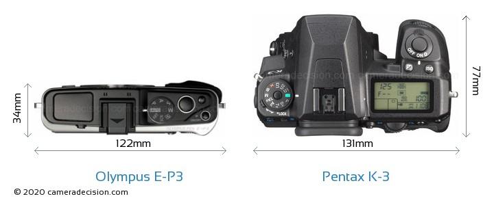 Olympus E-P3 vs Pentax K-3 Camera Size Comparison - Top View