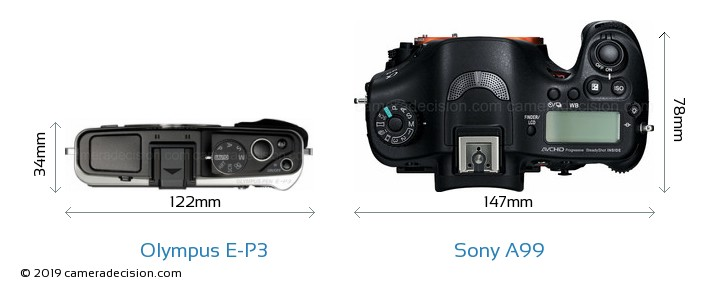 Olympus E-P3 vs Sony A99 Camera Size Comparison - Top View