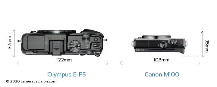 Olympus E-P5 vs Canon M100 Camera Size Comparison - Top View