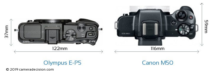 Olympus E-P5 vs Canon M50 Camera Size Comparison - Top View