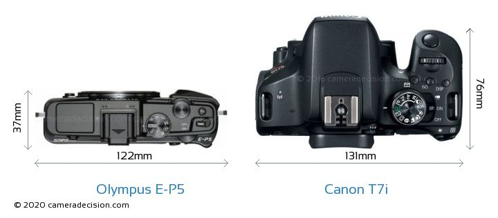 Olympus E-P5 vs Canon T7i Camera Size Comparison - Top View