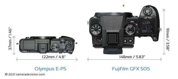 Olympus E-P5 vs Fujifilm GFX 50S Camera Size Comparison - Top View