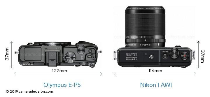 Olympus E-P5 vs Nikon 1 AW1 Camera Size Comparison - Top View