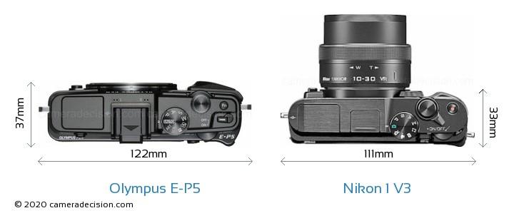 Olympus E-P5 vs Nikon 1 V3 Camera Size Comparison - Top View