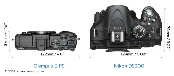 Olympus E-P5 vs Nikon D5200 Camera Size Comparison - Top View