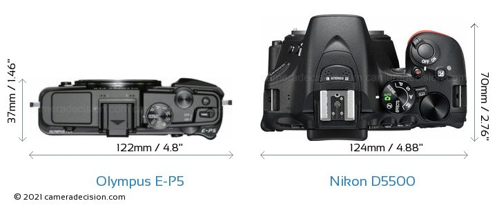 Olympus E-P5 vs Nikon D5500 Camera Size Comparison - Top View