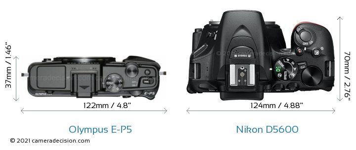 Olympus E-P5 vs Nikon D5600 Camera Size Comparison - Top View