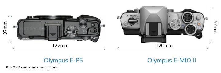 Olympus E-P5 vs Olympus E-M10 II Camera Size Comparison - Top View