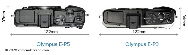 Olympus E-P5 vs Olympus E-P3 Camera Size Comparison - Top View
