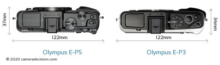 Olympus E-P5 vs Olympus E-P3 Camera Size Comparison - Top View