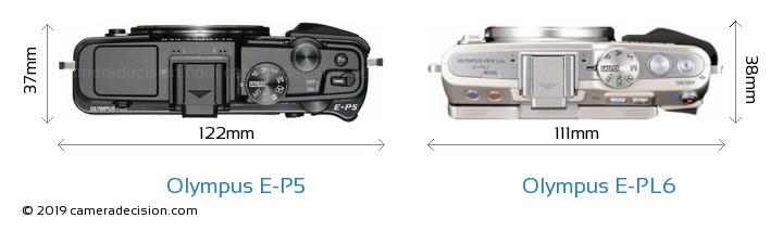 Olympus E-P5 vs Olympus E-PL6 Camera Size Comparison - Top View