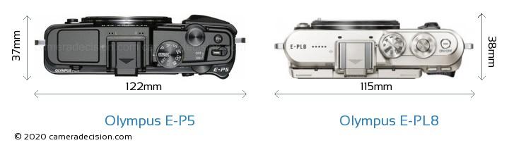 Olympus E-P5 vs Olympus E-PL8 Camera Size Comparison - Top View