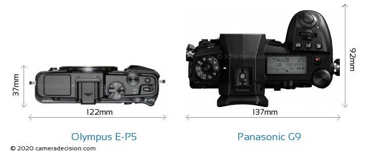 Olympus E-P5 vs Panasonic G9 Camera Size Comparison - Top View