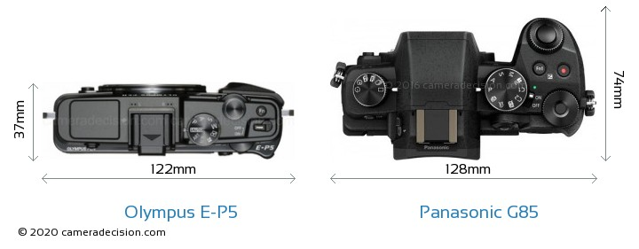 Olympus E-P5 vs Panasonic G85 Camera Size Comparison - Top View