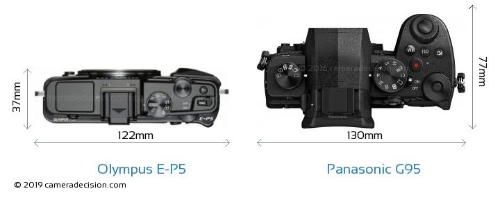 Olympus E-P5 vs Panasonic G95 Camera Size Comparison - Top View
