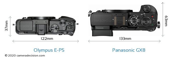 Olympus E-P5 vs Panasonic GX8 Camera Size Comparison - Top View