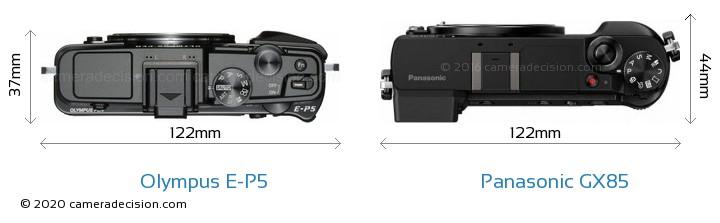 Olympus E-P5 vs Panasonic GX85 Camera Size Comparison - Top View