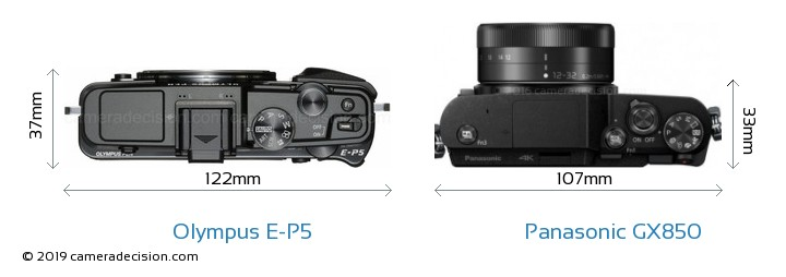 Olympus E-P5 vs Panasonic GX850 Camera Size Comparison - Top View