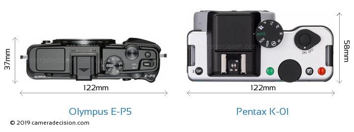 Olympus E-P5 vs Pentax K-01 Camera Size Comparison - Top View